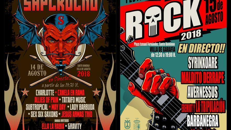 Carteles de 'Saperocko' y 'La Palma Rock'.