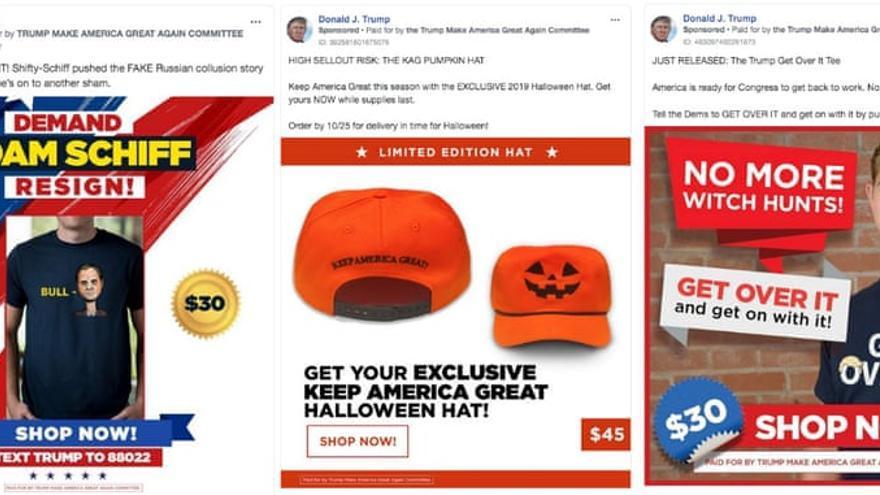Anuncios de Trump promoviendo la compra de merchandising.