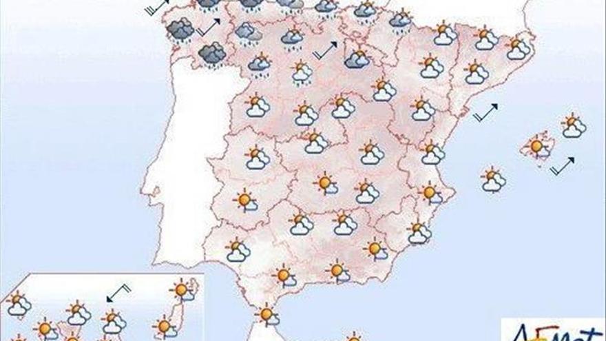 Hoy, lluvias fuertes en Galicia y subida de las temperaturas en Levante