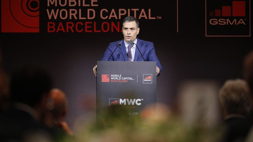 El presidente del Gobierno, Pedro Sánchez, durante la cena inaugural del Mobile World Congress, a 27 de junio de 2021, en Barcelona (España)