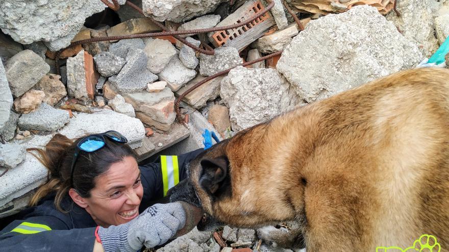 Los voluntarios trabajan con los perros el instinto de caza para efectuar los rescates
