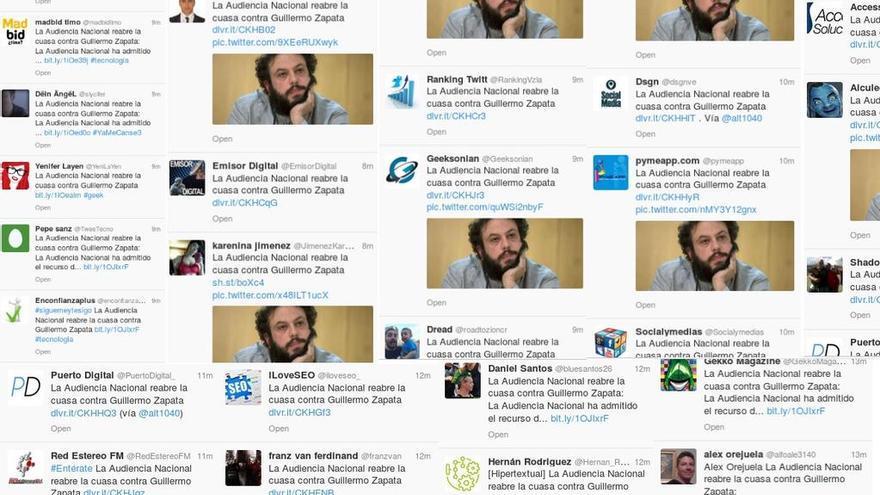 Pantallazo de los tuits publicados hoy sobre la noticia de Guillermo Zapata.