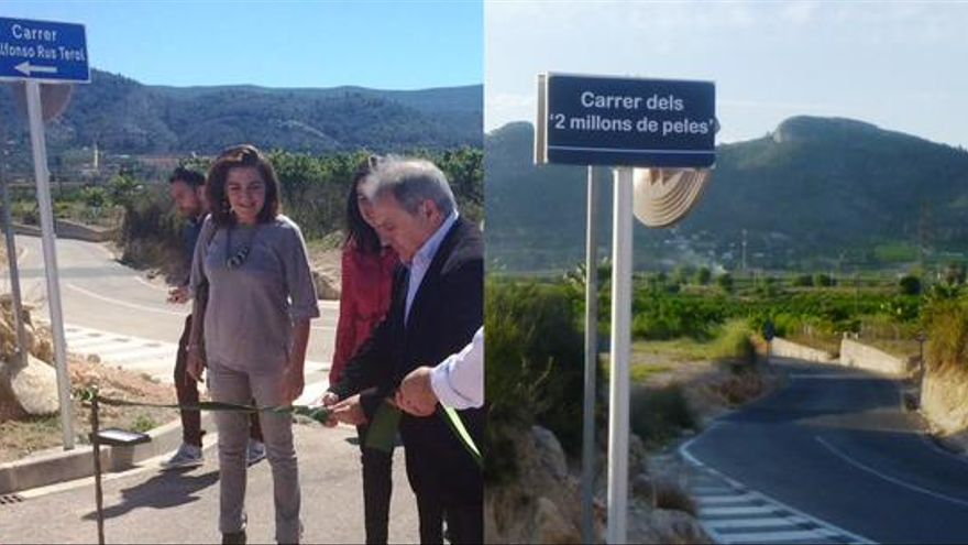 Imagen de Alfonso Rus inaugurando su propia calle y de la via ya 'rebautizada' (foto: @escanyat)