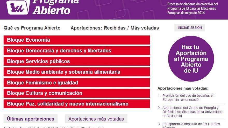 """Pantallazo de la web """"Programa Abierto"""" de IU."""