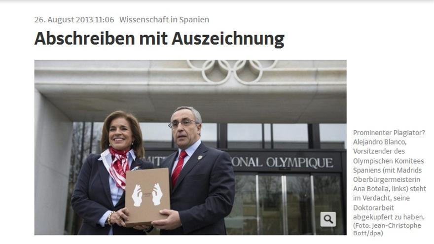 El plagio de la tesis doctoral del presidente del COE llega a la prensa alemana