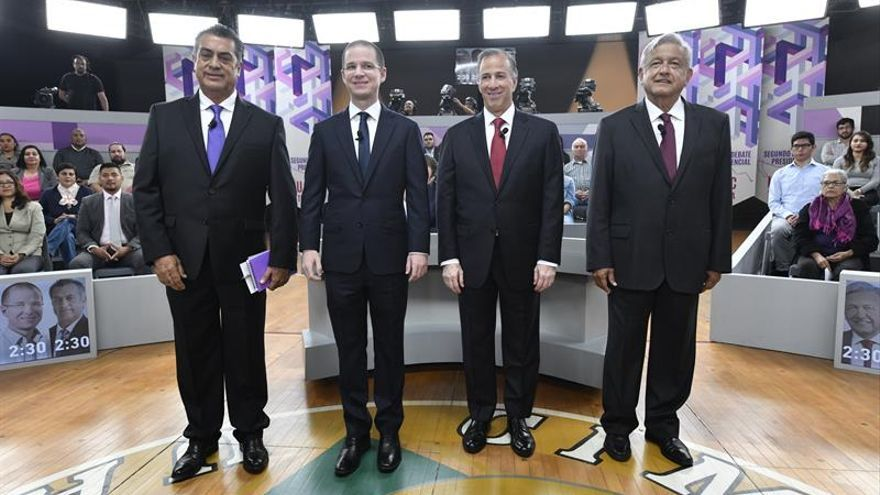 Los candidatos a la Presidencia de México: el independiente, Jaime Rodríguez; el conservador, Ricardo Anaya; el oficialista, José Antonio Meade, y el izquierdista, Andrés Manuel López Obrador