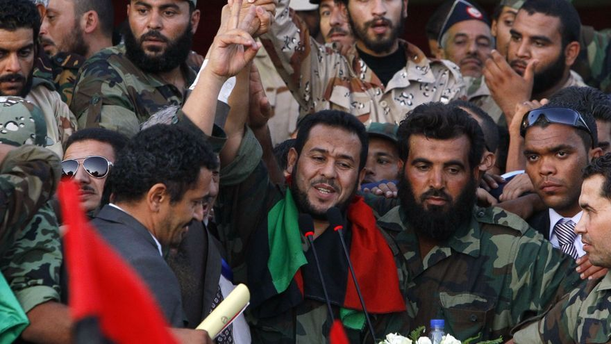 Abdul-Hakim Belhaj, actualmente líder del partido islamista libio al-Watan, antes de dar un discurso como comandante militar de Trípoli tras la caída de Gadafi.