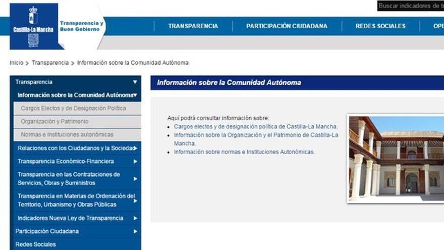 Portal de transparencia del Gobierno anterior de Castilla-La Mancha