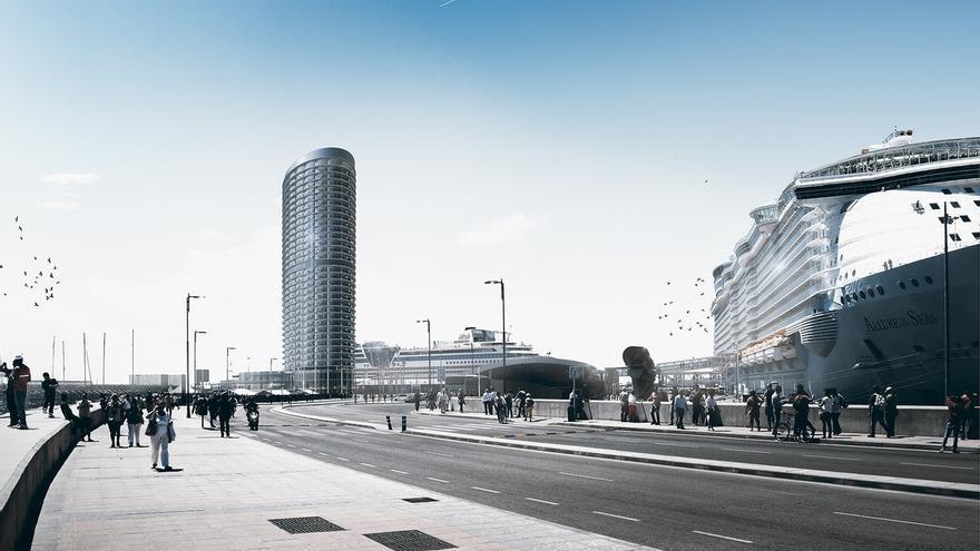 Recreación de la torre del Puerto de Málaga