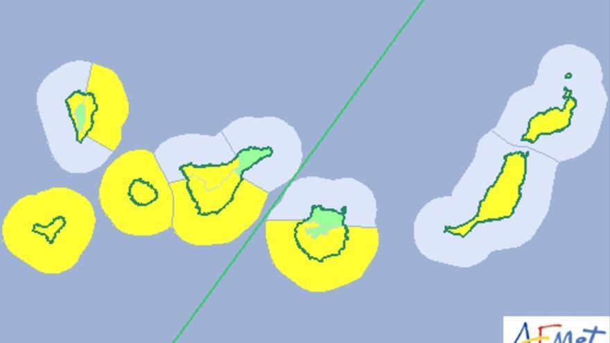 Mapa de la Aemet del aviso de riesgo por viento y fenómenos costeros para este jueves, 10 de agosto de 2017.