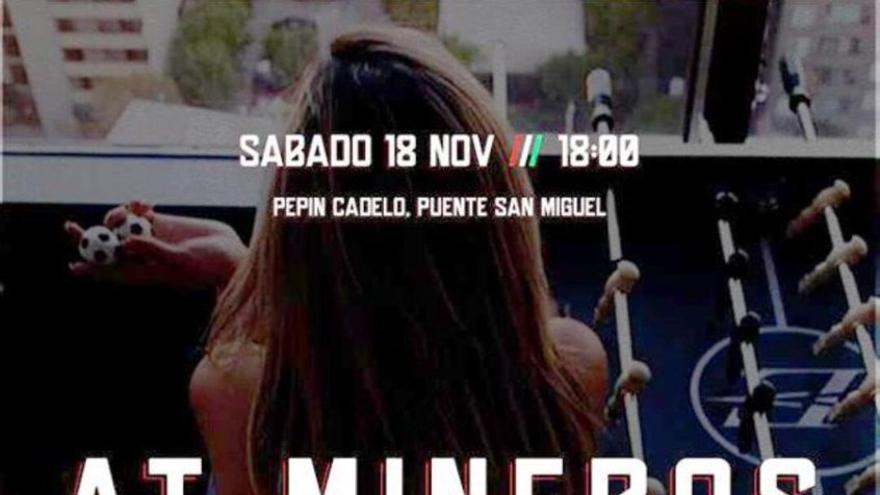 Cartel que anunciaba el partido de Primera Regional entre el Atlético Mineros y el Deva.
