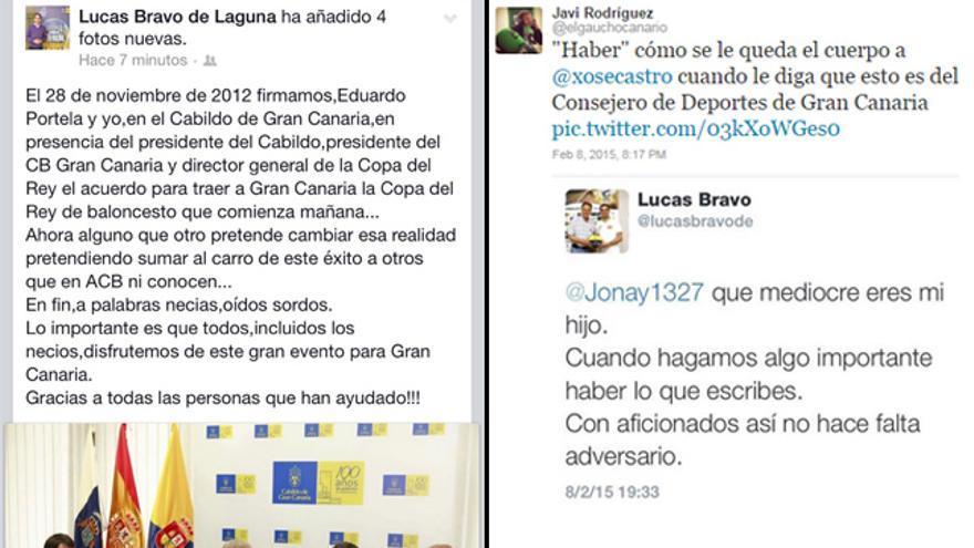 Mensajes publicados por el consejero de Deportes del Cabildo de Gran Canaria, Lucas Bravo de Laguna, en las redes sociales.