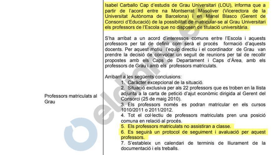 Acta del Consejo de Centro de la Massana que aprueba la matriculación de profesores del centro en el grado