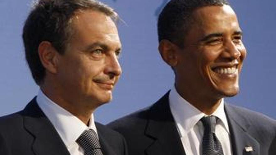 Zapatero y Obama en la cumbre del G-20.