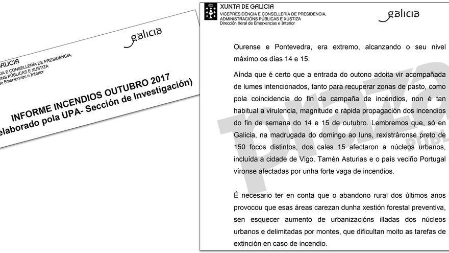 Fragmento del informe policial remitido por la UPA al Parlamento gallego