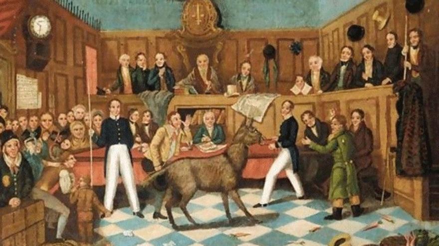 'The Trial of Bill Burns', de P. Mathews (1838), primer juicio por crueldad contra los animales. Burns había golpeado a su burro y fue denunciado por un diputado que llevó a la víctima hasta la corte penal.