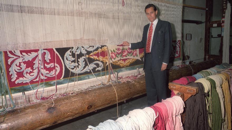 Livinio Stuyck en la Real Fábrica de Tapices en 1996