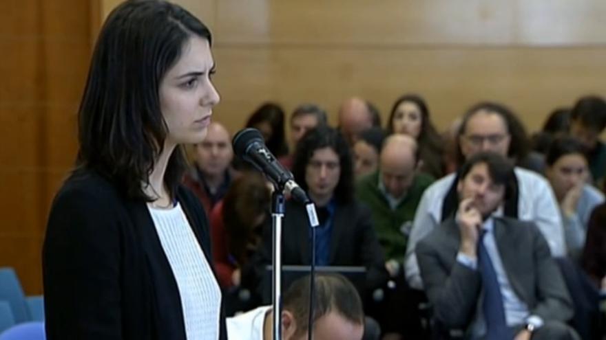 La portavoz del Ayuntamiento de Madrid, Rita Maestre, en el juicio por la protesta en la capilla de la Complutense