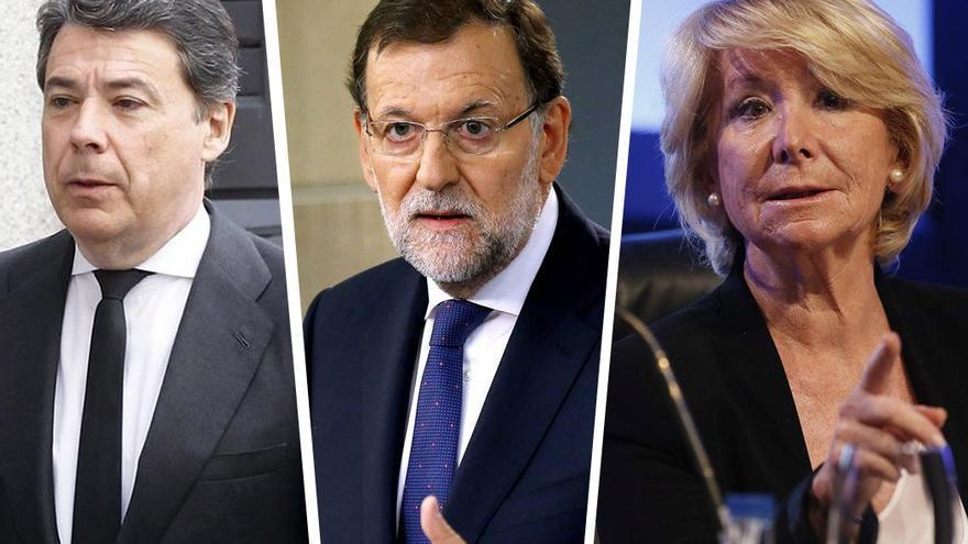 Ignacio González, Mariano Rajoy y Esperanza Aguirre.