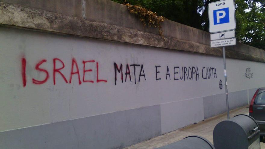 Una pintada contra Israel, ante la polémica por la pasada edición del festival de Eurovisión.