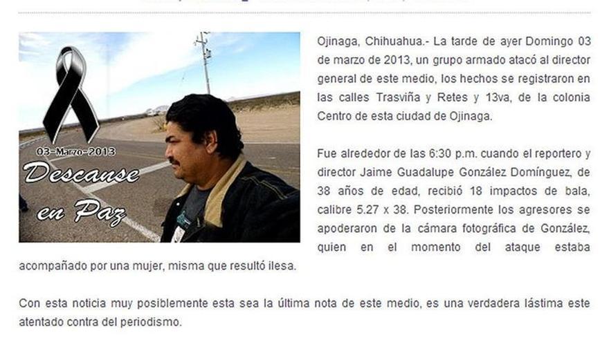 La FIDH pide a Chihuahua activar con eficacia su plan contra los ataques a la prensa