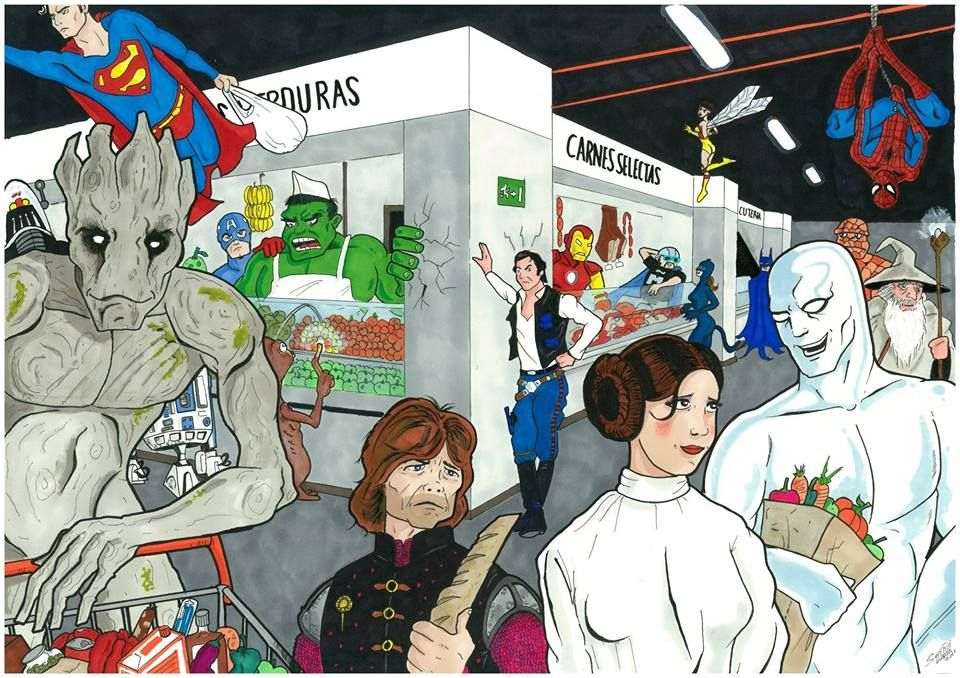 Ilustración de Sergio G. Núñez para Cosmic Market, con unos 'clientes especiales' comprando en el nuevo Mercado Barceló