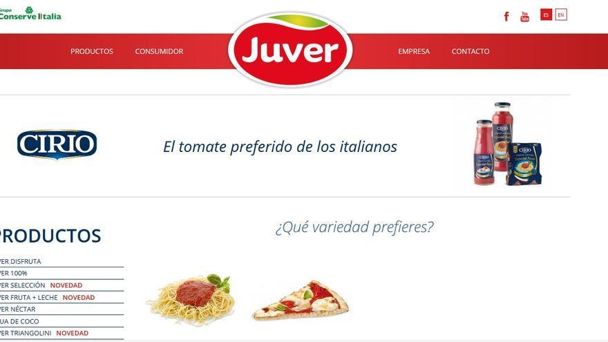 Captura de pantalla de la wen de tomate Cirio del grupo Conserve Italia