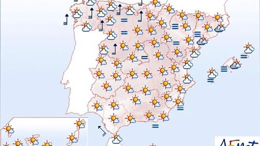 Hoy, viento fuerte en Galicia y Cordillera Cantábrica y altas temperaturas
