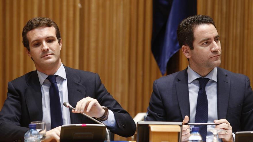 Pablo Casado y Teodoro García Egea, este martes.