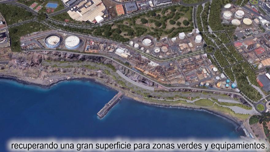 Infografía con el impacto del proyecto 'Santa Cruz Verde 2030' en los actuales terrenos de Cepsa