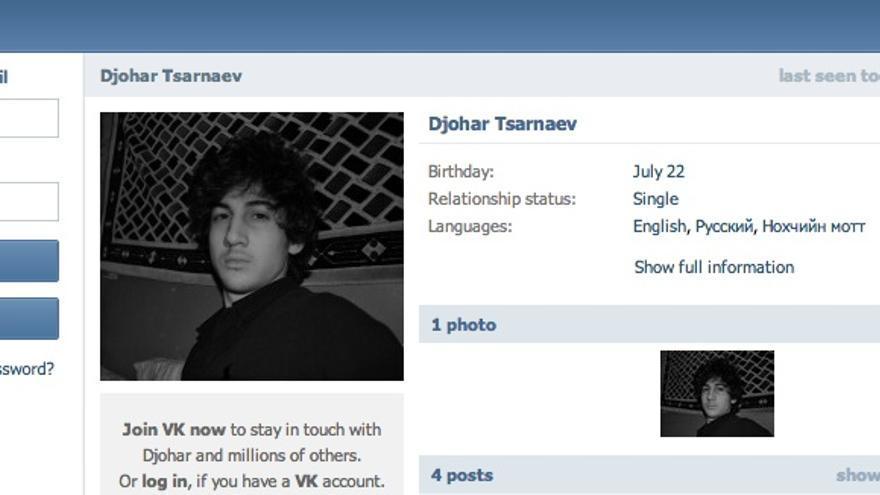 Página de Dzhokhar Tsarnaev en la red social rusa VKontakte.