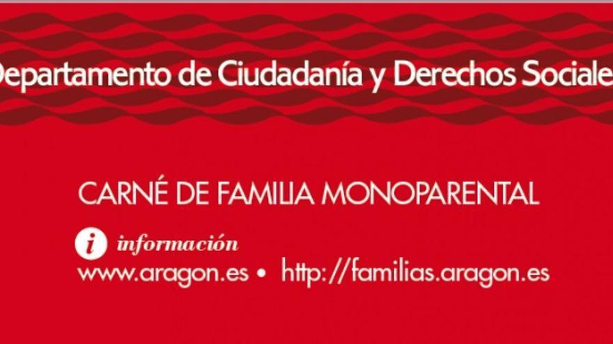 Reverso del carné monoparental de Aragón