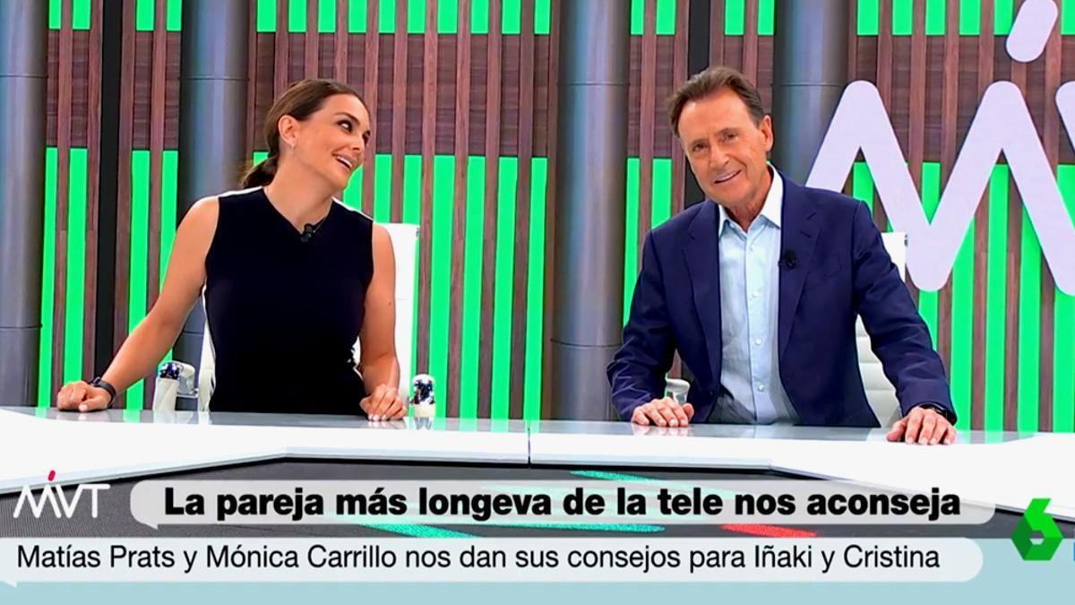 Mónica Carrillo y Matías Prats, en 'Más vale tarde'