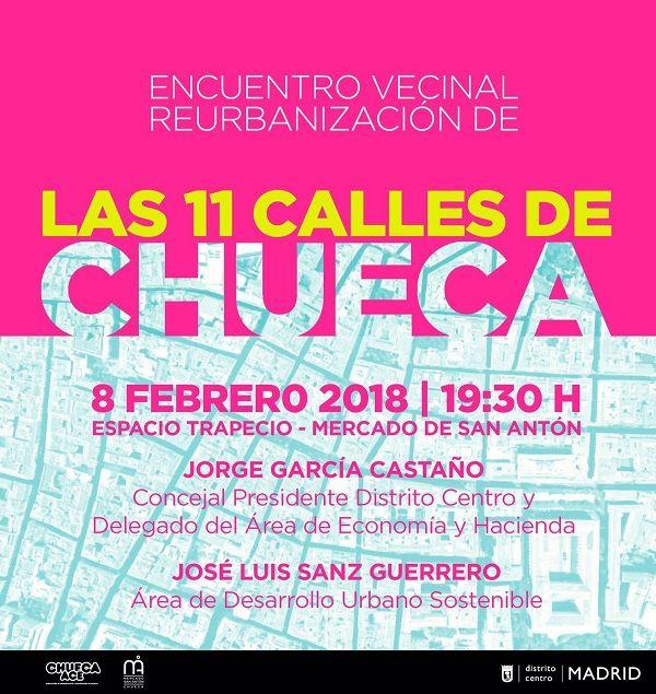 Cartel encuentro reurbanización 11 calles de Chueca