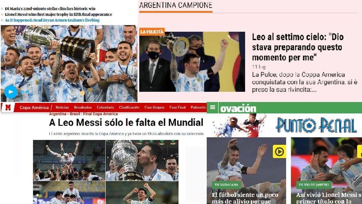 Tapas de medios del mundo con la cobertura de la victoria argentina