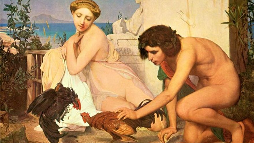 Jean-Léon Gérôme. Jóvenes haciendo pelear a dos gallos (1846).