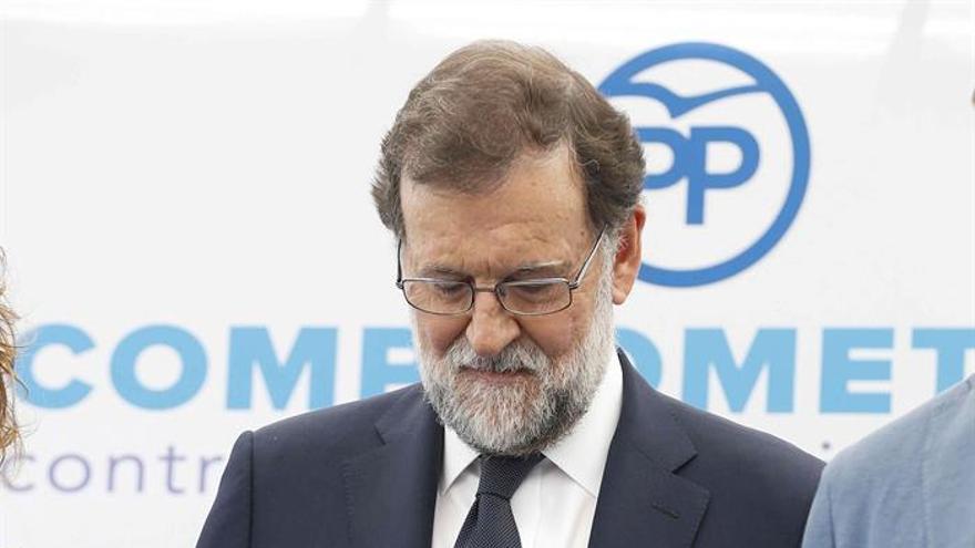 Mariano Rajoy en el acto sobre el acto contra la violencia de género en la sede del PP.