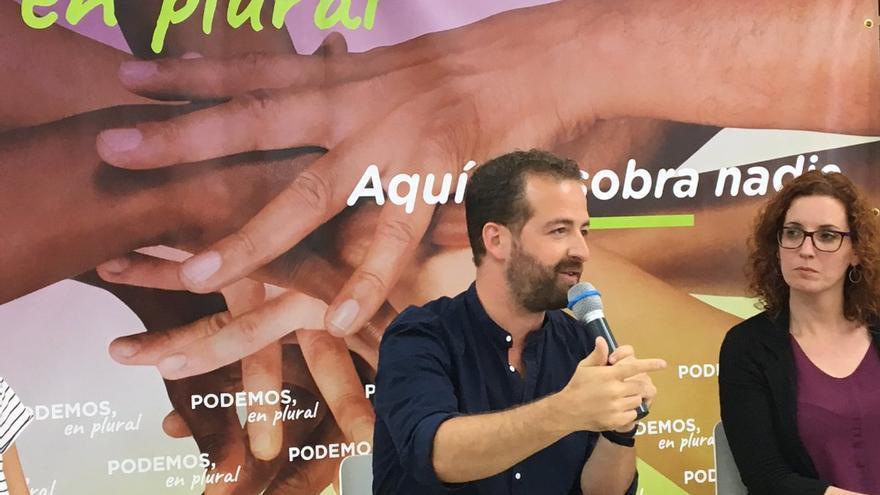 Juan Márquez, durante la presentación de Podemos en Plural