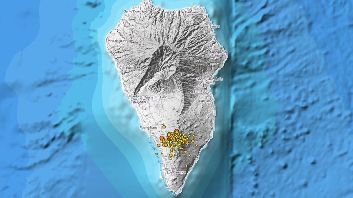 Mapa del IGN donde se indica el lugar exacto en el que se han localizado los movimientos sísmicos.