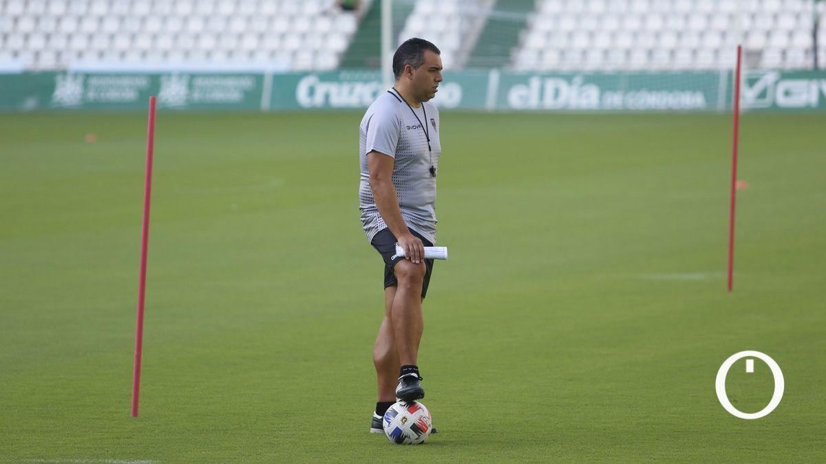 Germán Crespo, en un entrenamiento del Córdoba