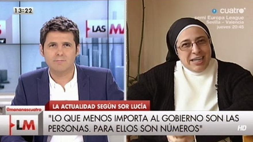 Sor Lucía, en uno de los debates de Las Mañanas de Cuatro en los que se mostraba crítica con el Gobierno