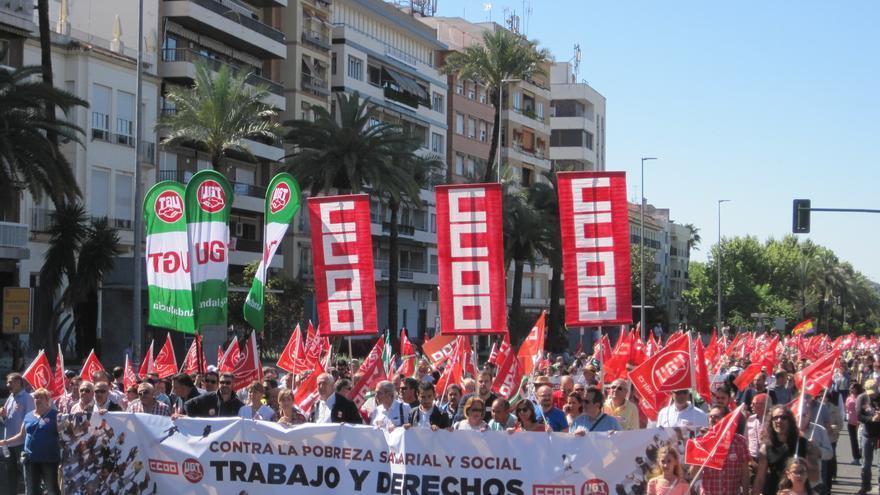 Cabecera de la manifestación del Día del Trabajo el 1 de mayo en Córdoba.