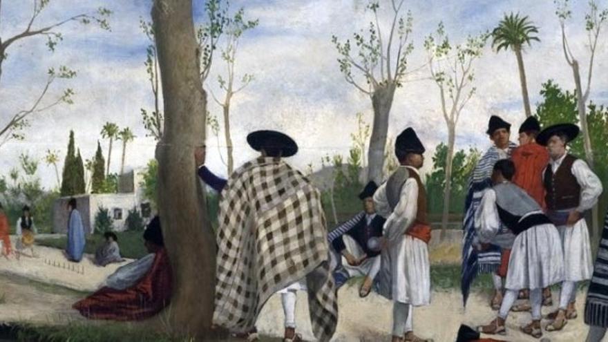 'Mientras rule no es chamba', óleo sobre tabla de 1875, del pintor murciano José María Sobejano / MUBAM