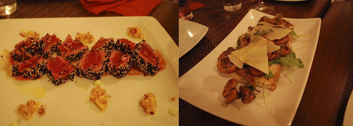 Díptico Tataki de atún y tosta de níscalos_Malasaña a mordiscos