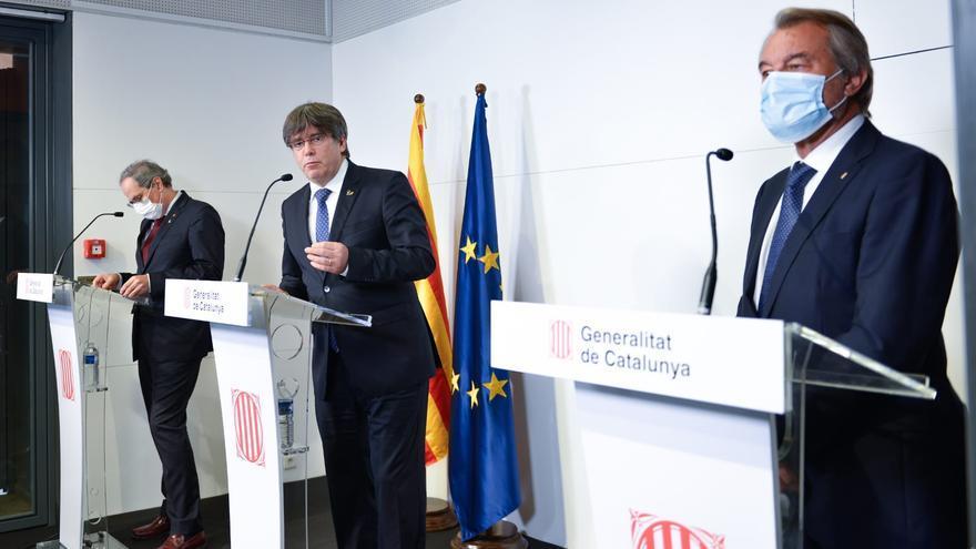 Los expresidentes de la Generealitat Artur Mas, Carles Puigdemont y Quim Torra en Perpignan (Francia)