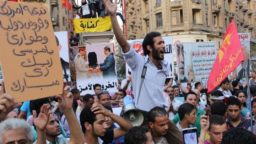 Reciente protesta laica por salarios dignos y contra la impunidad de la Junta militar. El Cairo, 1 septiembre 2012. (Foto cedida por Gigi Ibrahim)
