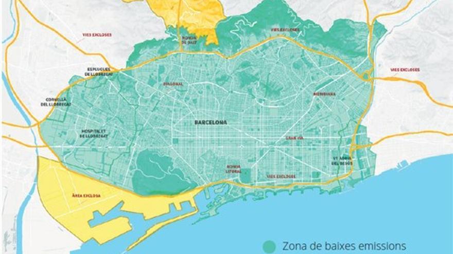 En verde, la Zona de Bajas Emisiones (ZBE) que incluye Barcelona y municipios colindantes