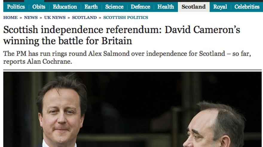 El referéndum escocés, en el Daily Telegraph del 15 de octubre.