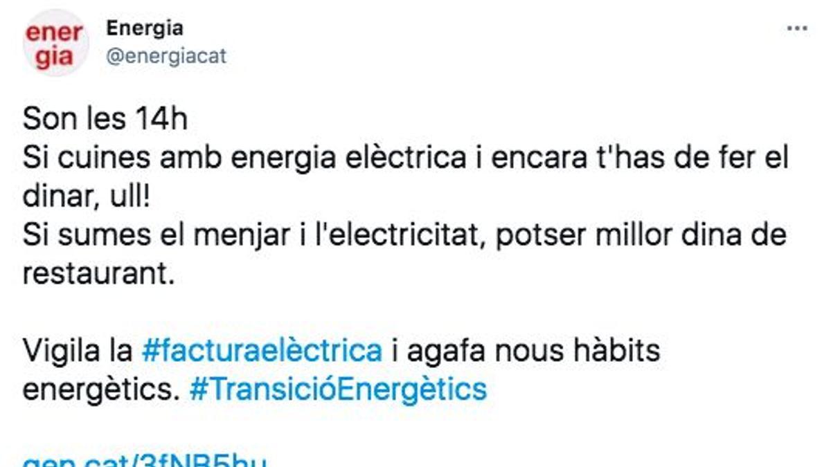 Captura de pantalla del tuit de la Generalitat