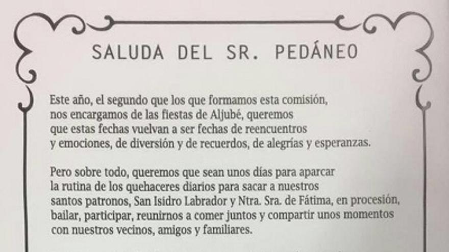 Saluda del alcalde pedáneo de Aljubé / Albacete Capital